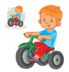 small boy ride tricycle vector image