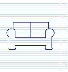 Sofa sign navy line icon on vector