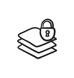 Stack of papers with lock sketch icon vector