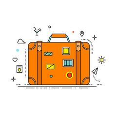 Suitcase with stickers liner design vector