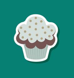 sweet dessert in paper sticker muffin vector image vector image