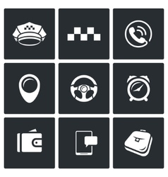 Taxi Service icons set vector image