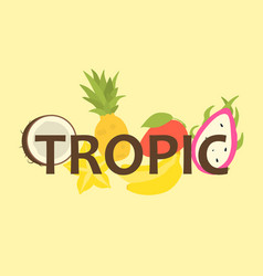 Tropical fruit design for t-shirt vector