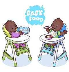 Two kids in baby highchair vector image