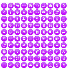 100 call center icons set purple vector