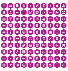 100 meat icons hexagon violet vector