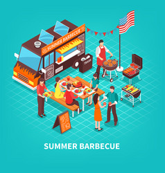 Summer barbecue isometric vector