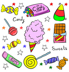 doodle of colorful candy style vector image