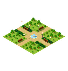 Isometric metropolis city park with streets and vector