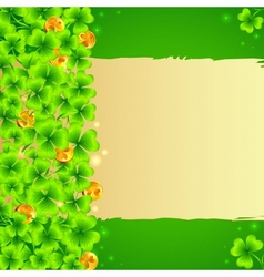 Green clovers background with golden coins vector