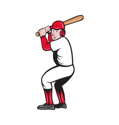 Baseball player batting cartoon style vector
