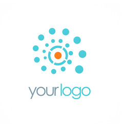 Circle dot connection technology logo vector