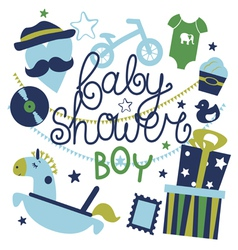 Baby shower composition for boy vector