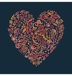 Creative doodle watercolor heart on the dark vector