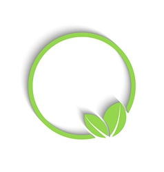 3D round green frame fresh leafs of plant mockup vector image