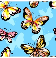Watercolor butterfly seamless pattern vector