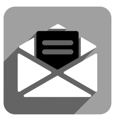 Open mail flat square icon with long shadow vector