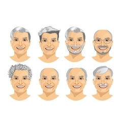 Mature man avatar with different hairstyles vector