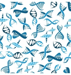 Blue DNA elements seamless pattern vector image