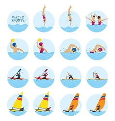 Sports Athletes Water Sports Icons Set vector image