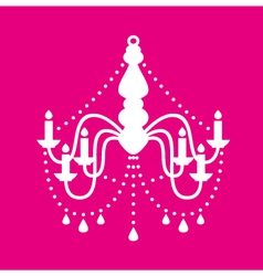 Vintage chandelier isolated on pink vector image