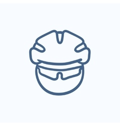 Man in bicycle helmet and glasses sketch icon vector