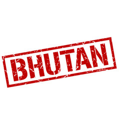 Bhutan red square stamp vector