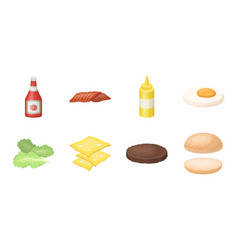 Burger and ingredients icons in set collection for vector