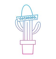 Cactus with sombrero mexico culture icon imag vector