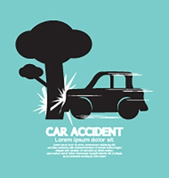 Car crash big tree vector