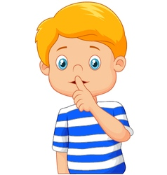 Cartoon boy with finger over his mouth vector image vector image