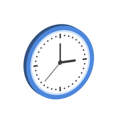 Clock symbol flat isometric icon or logo 3d style vector