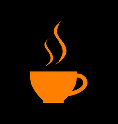 cup of coffee sign orange icon on black vector image vector image