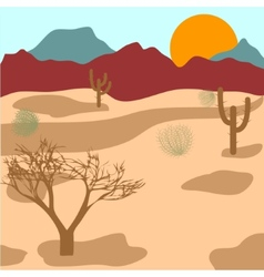 Desert mountains cactuses and tumbleweed vector image