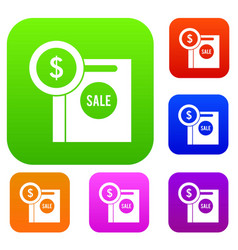 dollar sign and shopping bag for sale set vector image vector image