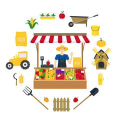 farmer vegetable seller witch color icons set vector image