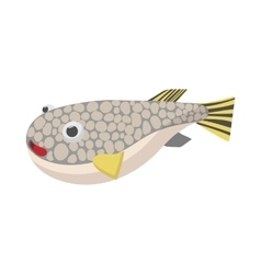 Fugu fish icon cartoon style vector