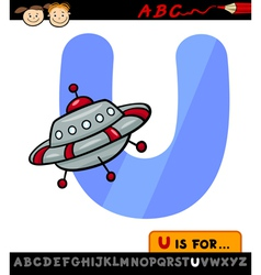 letter u with ufo cartoon vector image vector image