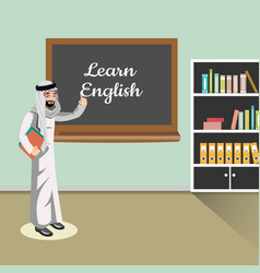 Man in classroom muslim teacher vector