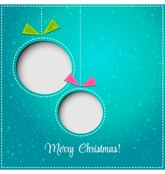 Merry Christmas greeting card with bauble Paper vector image vector image