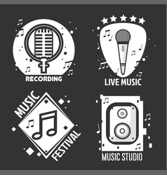 Music festival or shop labels headphones vector