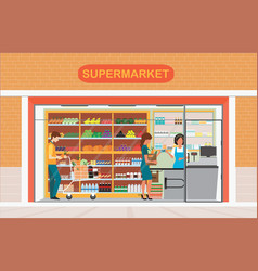 People in supermarket grocery store vector