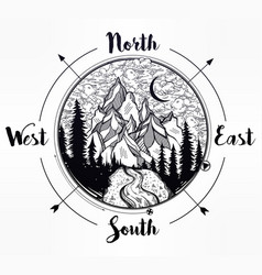Pine forest mountain landscape wind rose compass vector
