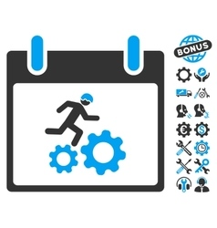 Running worker calendar day icon with bonus vector