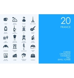 Set of blue hamster library france icons vector