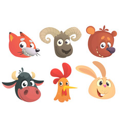 Set of cartoon forest animals head vector