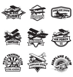 Set of flying academy emblems vintage airplanes vector