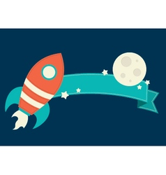 Space Rocket Banner vector image