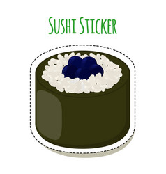 sushi sticker asian food with caviar rice- label vector image