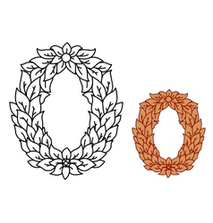 Uppercase alphabet letter o in leaves and flowers vector